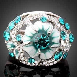 Luxusní ohromující prsten, bílé zlato, Swarovski krystal J0045