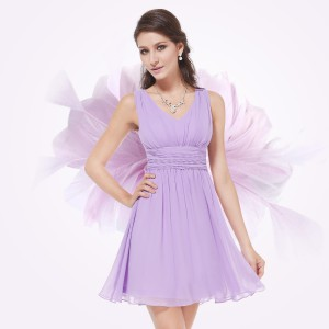 Kouzelné společenské, večerní letní krátké šaty Ever Pretty 3909 - fialové lila