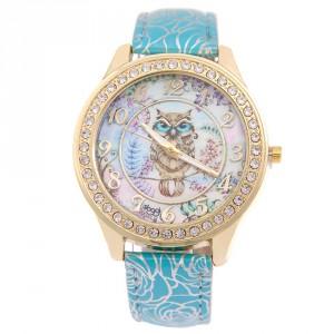 Dámské hodinky zlaté s krystaly - sovička