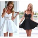 Letní, plážové dámské krátké šaty - černé, bílé