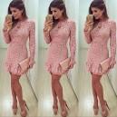Dámské  společenské, večerní růžové krajkové šaty