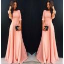 Dámské společenské, večerní růžové dlouhé šaty s rukávy