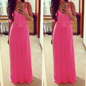 Letní, plážové, denní neonové dlouhé dámské  šaty - růžové