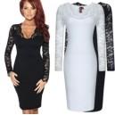Dámské společenské šaty černé, bílé s krajkou