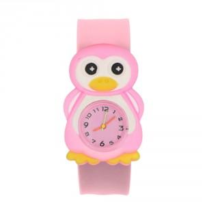 Dětské silikonové, navíjecí SLAP hodinky - tučňák růžový