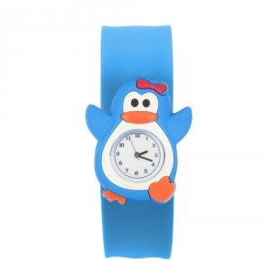 Dětské silikonové, navíjecí SLAP hodinky - tučňák modrý