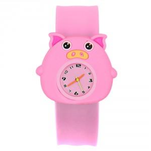 Dětské silikonové, navíjecí SLAP hodinky - prasátko růžové