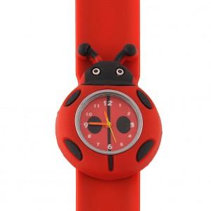 Dětské silikonové, navíjecí SLAP hodinky - beruška červená