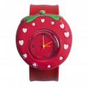 Dětské silikonové, navíjecí SLAP hodinky - jahoda červená
