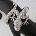 Luxusní stříbrný náramek, ještěrka čirý swarovski krystal