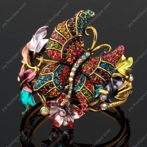 Luxusní velký zlatý masivní dámský náramek motýl barevný Swarovski krystal