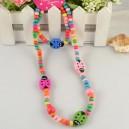 Dětský, dívčí dřevěný set náhrdelník + náramek s beruškami barevný