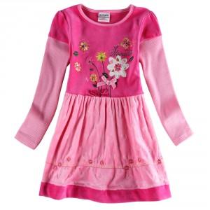 Dětské dívčí šaty, tunika s dlouhým rukávem růžová s kytičkami