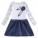 Dětské dívčí šaty, tunika s dlouhým rukávem modrá s králíčkem
