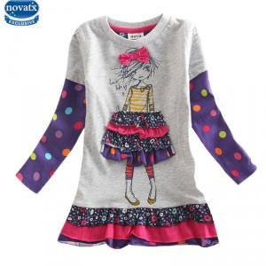 Dětské dívčí šaty, tunika s dlouhým rukávem šedá s holčičkou