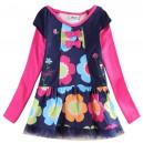 Dětské dívčí šaty, tunika s dlouhým rukávem barevná s květinami