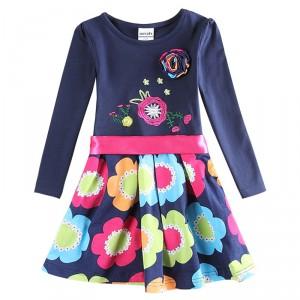 Dětské dívčí šaty, tunika s dlouhým rukávem modrá s květinami
