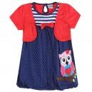 Dětské dívčí šaty, tunika s krátkým rukávem a bolerkem se sovičkou