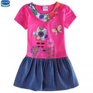 Dětské dívčí šaty, tunika s krátkým rukávem růžové s kytičkami