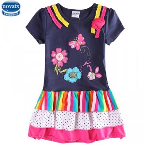 Dětské dívčí šaty, tunika s krátkým rukávem barevné s kyytičkami