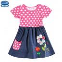 Dětské dívčí šaty, tunika s krátkým rukávem růžová s kytičkou