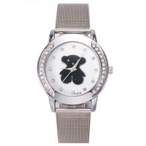 Dětské, dívčí hodinky stříbrné s medvídkem