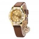 Módní zlaté dámské hodinky s krystaly a přívěškem páva - zlatohnědé