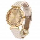 Módní zlaté dámské hodinky s krystaly a přívěškem srdce - bílé