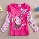 Dětské dívčí tričko s dlouhým rukávem  Peppa Pig- růžové, fialové