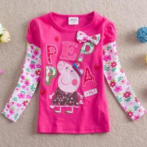 Dětské dívčí tričko s dlouhým rukávem  Peppa Pig- růžové skladem 92