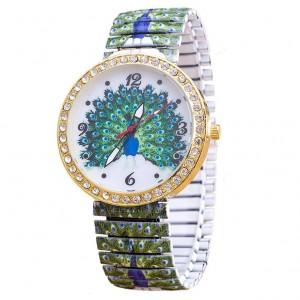 Módní dámské hodinky s elastickým páskem a krystaly - páv