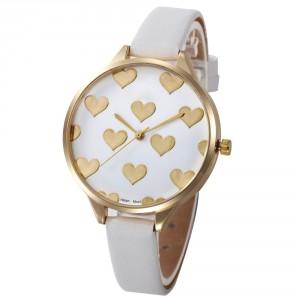 Dámské hodinky zlaté srdíčka - bílé