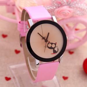 Roztomilé dámské, dívčí  hodinky s kočičkou a pavoučkem - růžové