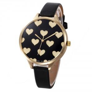 Dámské hodinky zlaté srdíčka - černé