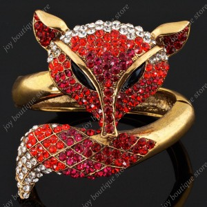 Luxusní velký zlatý masivní dámský náramek liška červený Swarovski krystal