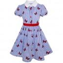 Dívčí šaty s rukávky ve stylu školní uniformy, bílé, proužkové s motýlky