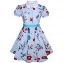 Dívčí šaty s rukávky ve stylu školní uniformy, bílé, proužkové s květinami