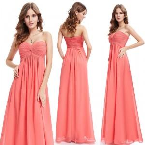 Nebesky jemné dlouhé společenské dámské šaty bez ramínek - korálové