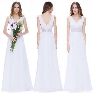 Dámské svatební bílé dlouhé šaty s krajkou v pase