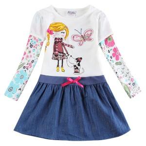 Dětské dívčí šaty, tunika s dlouhým rukávem modrá s holčičkou a pejskem, skladem vel. 122 a 128