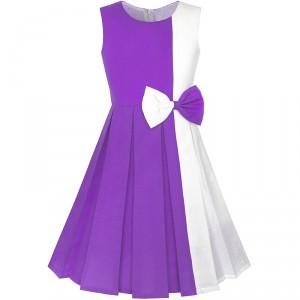 Dětské, dívčí společenské šaty s mašlí - fialové