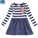 Dětské dívčí šaty, tunika s dlouhým rukávem modrá s puntíky