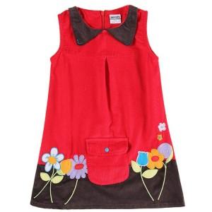 Dětské manžestrové dívčí šaty, tunika bez rukávů červená vyšívaná