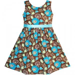 Dětské, dívčí letní elegantní šaty hnědé s tyrkysovými květinami