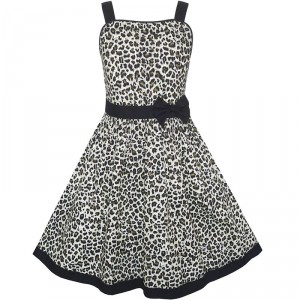 Dětské, dívčí letní společenské šaty leopardí vzor