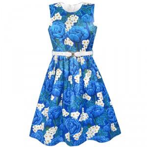 Dětské, dívčí společenské šaty s modrými květinami
