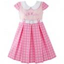 Dětské, dívčí společenské šaty ve stylu školní uniformy růžové