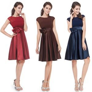 Dámské koktejlové šaty se skládanou sukní a mašlí - vínově červené