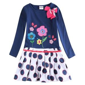 Dětské dívčí šaty, tunika s dlouhým rukávem modrá s puntíky a kytičkami, skladem vel. 110