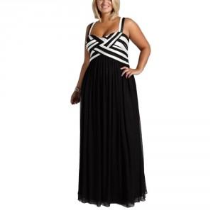 Večerní dámské dlouhé společenské šaty černé, elastické XXXL